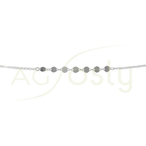 Pulsera de plata con cadena rolo y plaquitas lisas