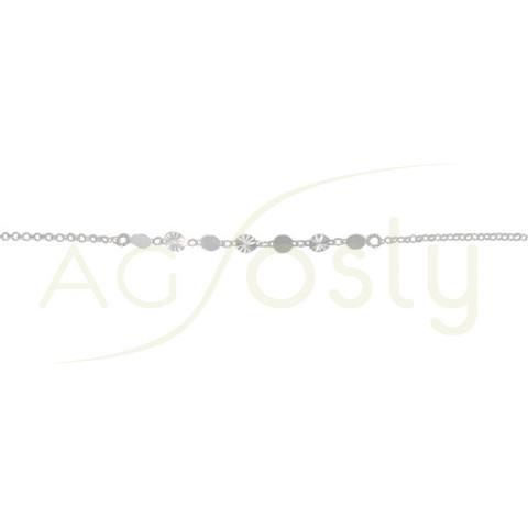 Pulsera de plata con plaquitas lisas y diamantadas