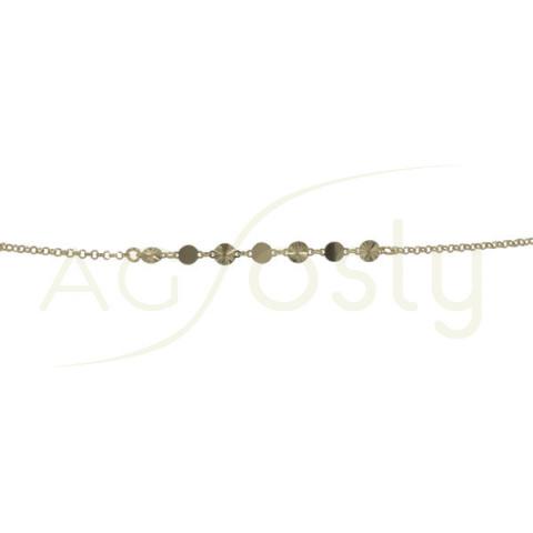 Pulsera de plata chapada con plaquitas lisas y diamantadas