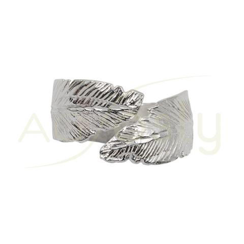 Anillo de plata con forma de pluma