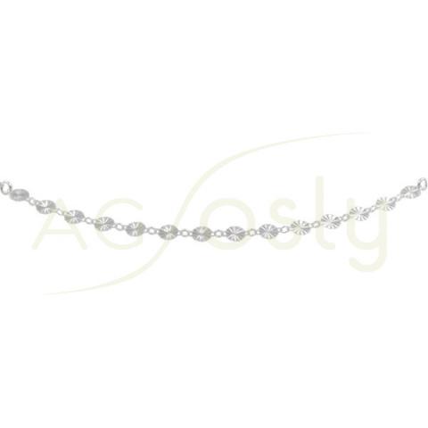 Tobillera de plata de cadena rolo con plaquitas diamantadas