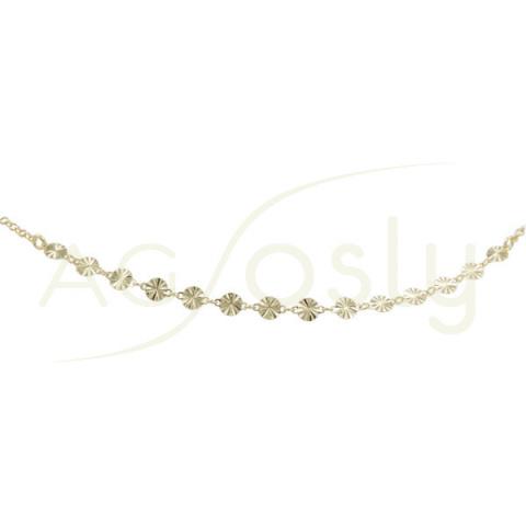 Tobillera de plata chapada de cadena rolo y placas diamantadas
