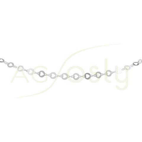 Collar de plata con plaquitas redondas troqueladas en corazón