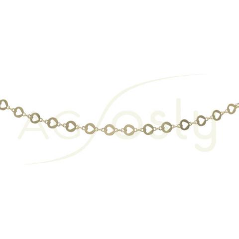 Collar de plata chapada con placas troqueladas en corazón