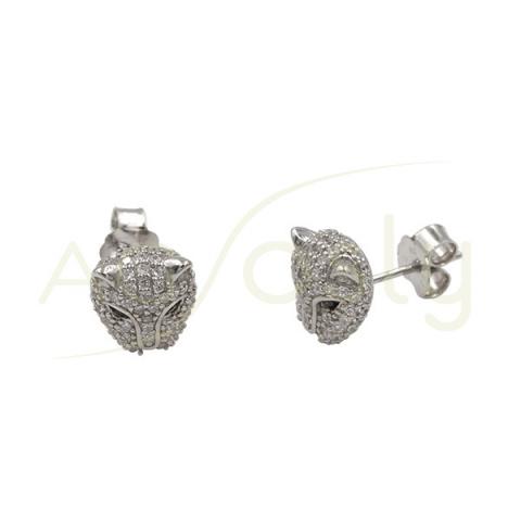 Pendientes de plata con cabeza de felino y circonitas