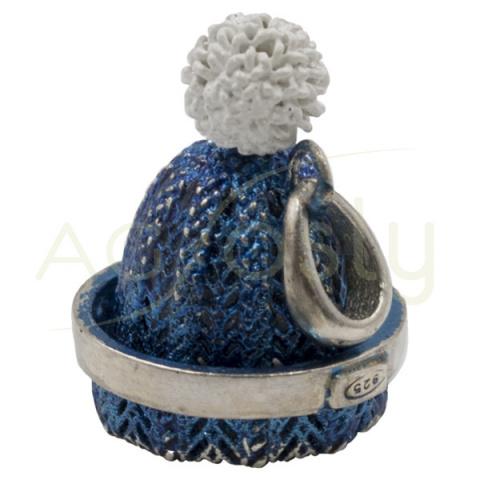 Colgante de plata Gorro Azul con Pompón Blanco 18mm