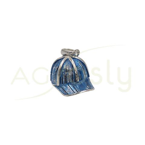 Colgante de plata Gorra Azul de 18MM