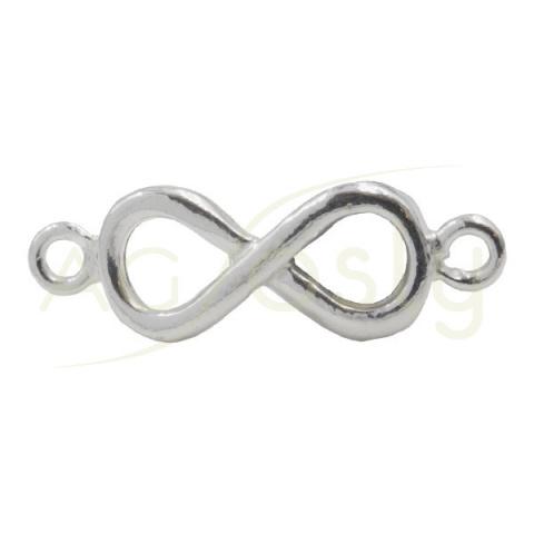 Entrepieza de plata con forma de Infinito con dos anillas