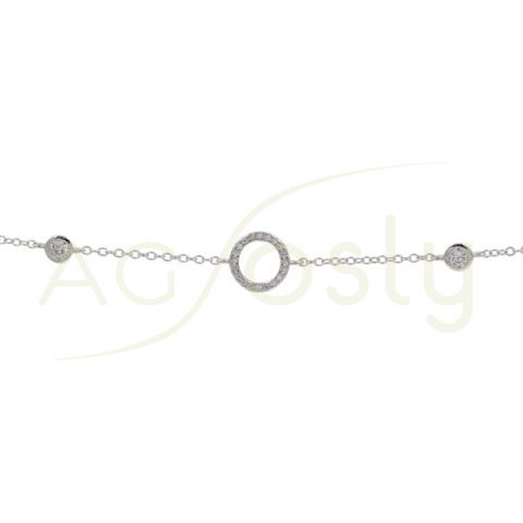 Pulsera de plata con circulo de circonitas