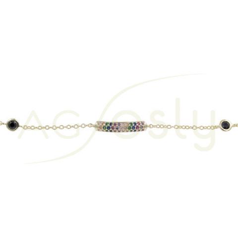 Pulsera de plata chapada con piedras multicolor