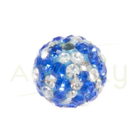 Bolas cristales blanco/azul.8mm