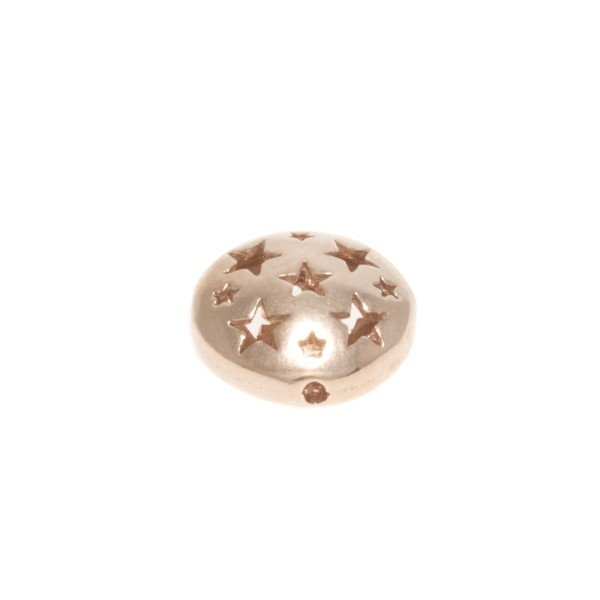 Entrepieza redonda chapada en rosa con estrellas caladas.12mm