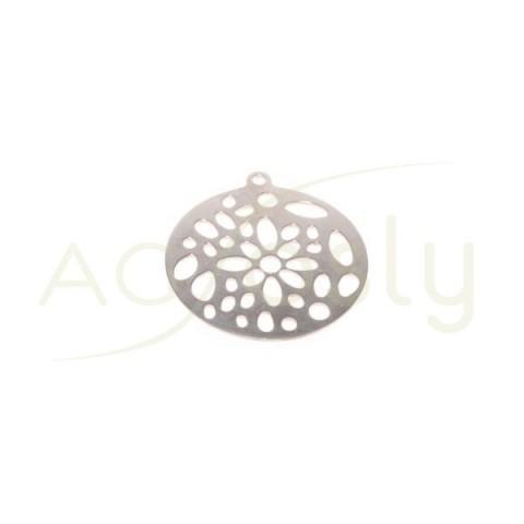 Pieza de montaje en plata rodiada redonda calada.26mm